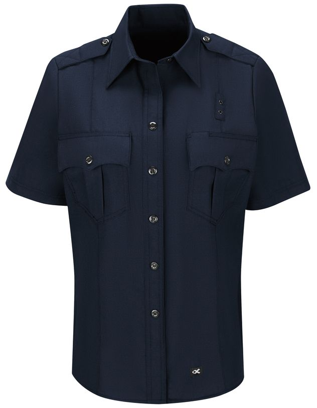 Workrite FR Women's Fire Officer Shirt FSE3, Classic Short Sleeve Navy Midnight Navy Front