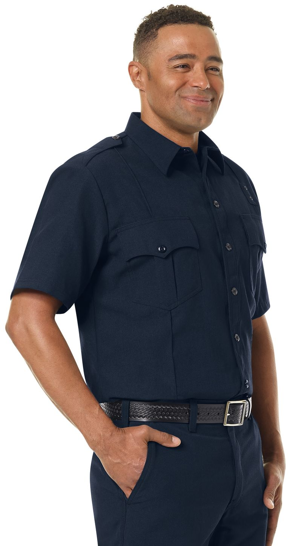 Workrite FR Fire Officer Shirt FSE2, Classic Short Sleeve Midnight Navy Example Right