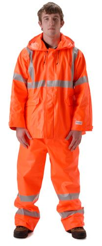 nasco sentinel orange hi vis chemical resistnat flash fire rainsuit