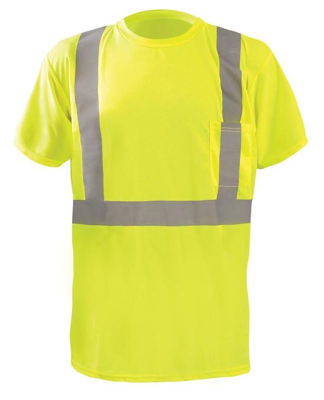 Occunomix LUX-SSTP2BX Short Sleeve Wicking Birdseye X-Back T-Shirt w/Pocket Yellow Front