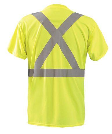 Occunomix LUX-SSTP2BX Short Sleeve Wicking Birdseye X-Back T-Shirt w/Pocket Yellow Back