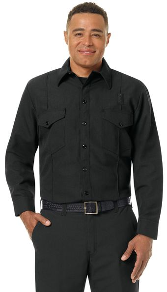 Workrite FR Firefighter Shirt FSF0 Classic Long Sleeve Black Example Front