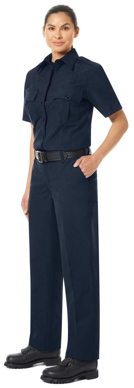 Workrite FR Women's Fire Officer Shirt FSE3, Classic Short Sleeve Navy Midnight Navy Example Left
