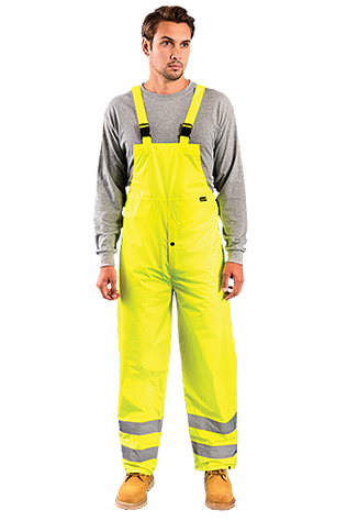 Occunomix LUX-TRBIB High Visibility Breathable Bib Rain Pants, Class E