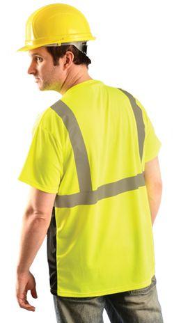 Occunomix Hi Vis T-Shirt LUX-SSETPBK - Wicking Birdseye, Black Bottom Back Example