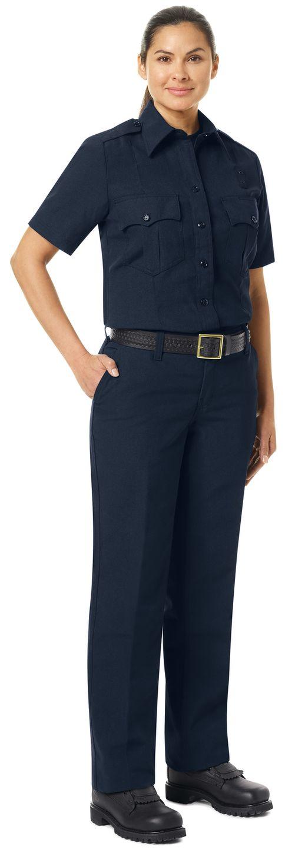 Workrite FR Women's Fire Officer Shirt FSE3, Classic Short Sleeve Navy Midnight Navy Example Right