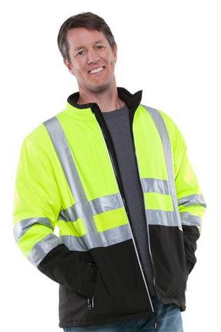 RefrigiWear Cold Weather Apparel - HiVis™ Softshell Jacket 0496 - HiVis Lime-Yellow with Reflective Tape