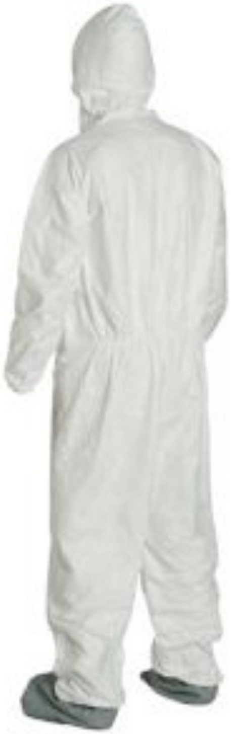 DuPont Tyvek Disposable Suit with Elastic Wrists - Hood & Anti-Skid Boots - TY122SWH Left Side