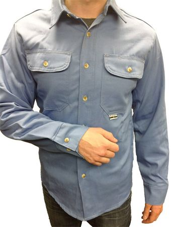 CPA Blue Fire Retardant Shirt Close-Up