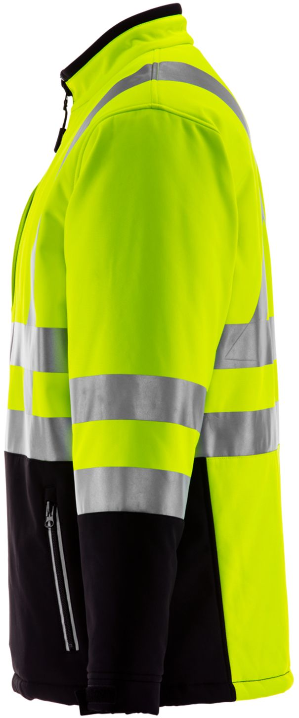 RefrigiWear 0496 Softshell HiVis Winter Work Jacket HiVis Lime Yellow With Reflective Tape Left