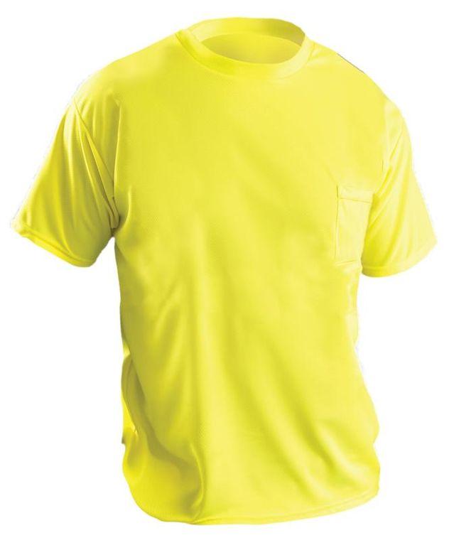 Occunomix LUX-XSSPB Hi-Viz Short Sleeve Wicking Birdseye T-shirt Yellow Front