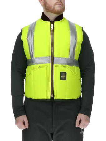Refrigiwear 0399L2 HiVis Iron-Tuff Vest Front View Lime