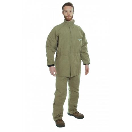 National Safety Apparel Arc Flash Suit KIT4SCLT40 40 Calorie With Jacket And Bib Overall HRC 4 Front View More Bright More Green