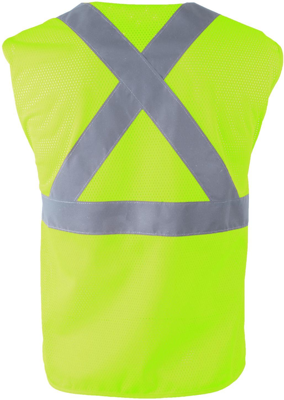 RefrigiWear 0198 Zipper Mesh Safety Vest Lime Back