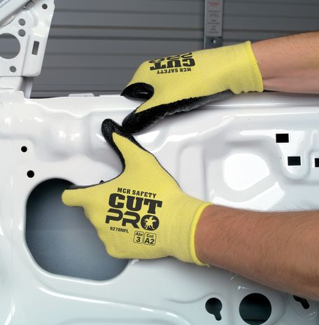 MCR Safety UltraTech Gloves 9693 Aramid Cut Protection with Textured Nitrile Palms Use Example