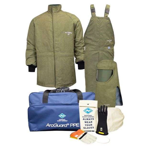 National Safety Apparel Arc Flash Suit KIT4SCLT40 40 Calorie With Jacket And Bib Overall HRC 4 Bright