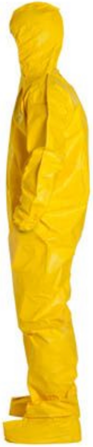 DuPont Tychem QC Suit with Hood - Socks - Elastic Wrists & Ankles - QC122 Left Side