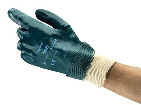 Ansell Hylite Fully Nitrile Dipped Gloves 47-402 with Knit Wrists Back Example