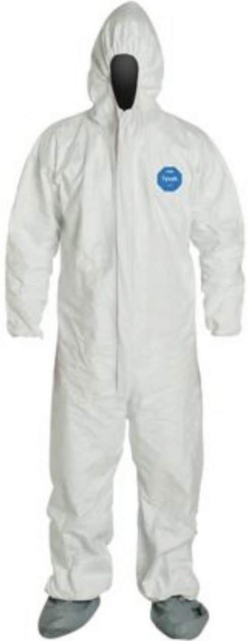 DuPont Tyvek Disposable Suit with Elastic Wrists - Hood & Anti-Skid Boots - TY122SWH Front