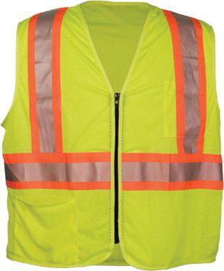 OK-1 Safety Vests ILDOTMZ - Contrasting Stripe Class 2 Mesh Polyester Yellow
