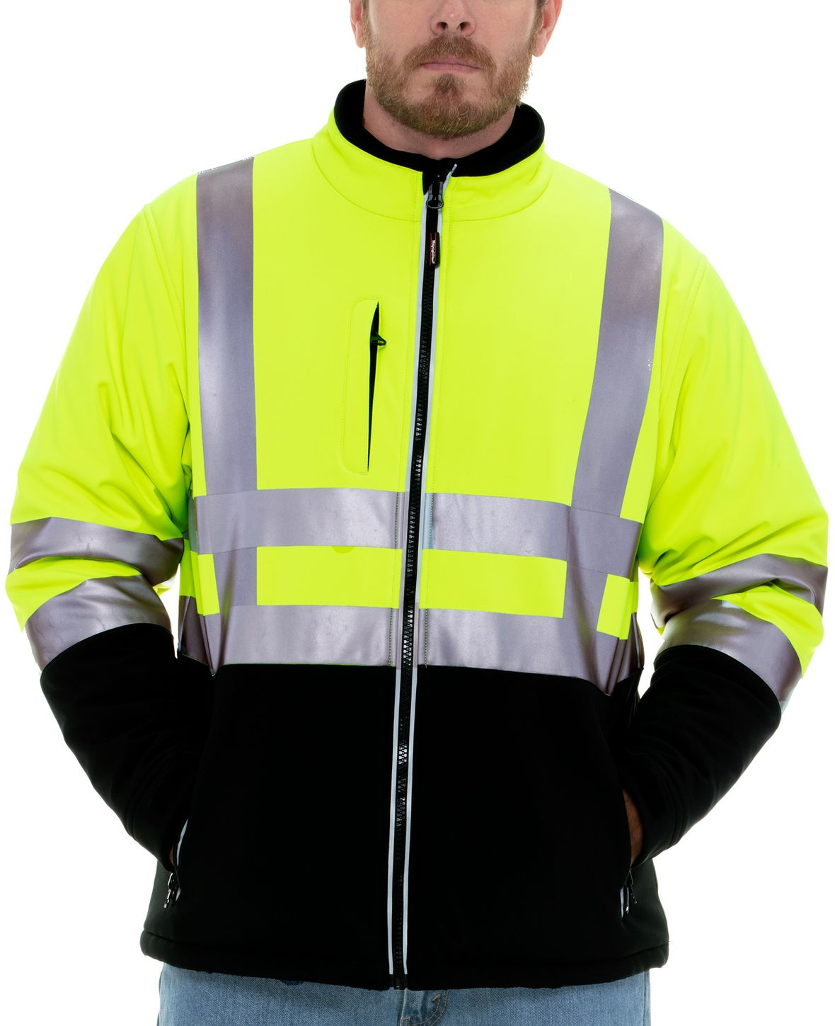 RefrigiWear 0496 Softshell HiVis Winter Work Jacket HiVis Lime Yellow With Reflective Tape Example