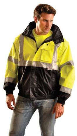 Occunomix LUX-TJBJ-B Black Bottom Hi-Vis Bomber Rain Jacket