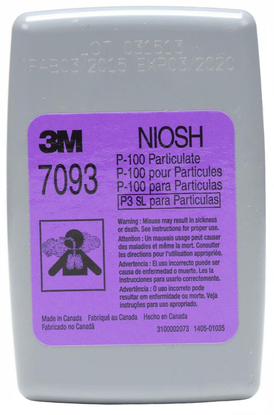 3M 7093 P100 Particulate Filters Front