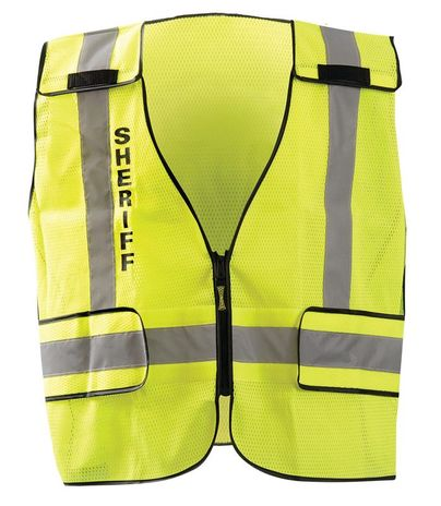Occunomix LUX-PSS-DOR Mesh Public Safety Break-Away Vest w/DOR, Sheriff Front