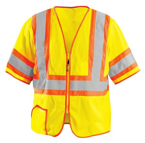 Occunomix Two-Tone, High Visibility, Half-Sleeve Mesh Vest LUX-HSCLC3Z Front
