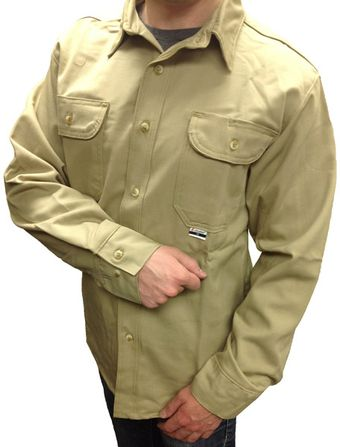 CPA Khaki Color FR Work Shirt Close-Up