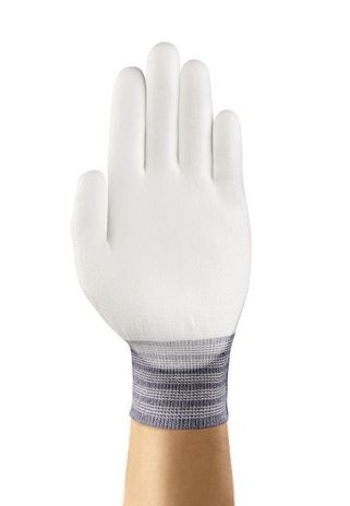 Ansell HyFlex Nylon Gloves 11-600 PU - Palm Coated All White Front