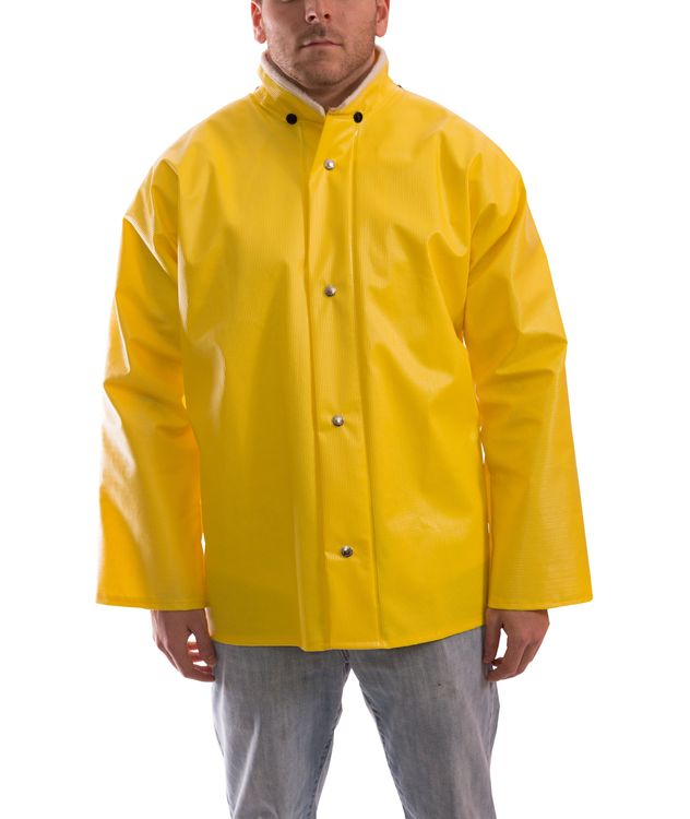 Tingley J31207 Webdri® Chemical Resistant Jacket - PVC Coated, Tear Resistant, with Hood Snaps Front