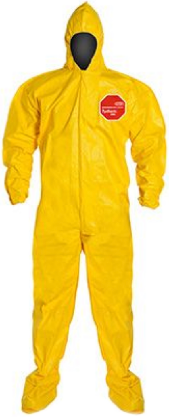DuPont Tychem QC Suit with Hood - Socks - Elastic Wrists & Ankles - QC122 Front