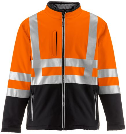 RefrigiWear 0496 Softshell HiVis Winter Work Jacket HiVis Orange With Reflective Tape Front