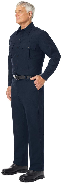 Workrite FR Fire Officer Shirt FSE0 Classic Long Sleeve Midnight Navy Example Left