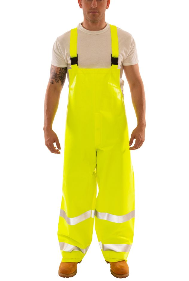 Tingley Eclipse™ Arc Flash and Fire Resistant Overalls - PVC on Nomex®, Chemical Resistant, Class 3 Hi Vis Fluorescent Yellow-Green Front