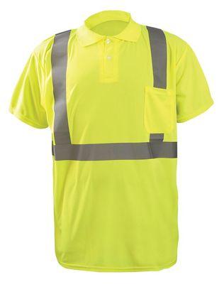Occunomix LUX-SSPP2B Short Sleeve Wicking Birdseye Polo Shirt w/Pocket Front Yellow