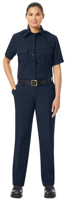 Workrite FR Women's Fire Officer Shirt FSE3, Classic Short Sleeve Navy Midnight Navy Example Front