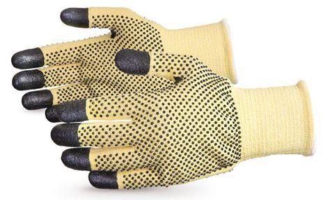 Superior Kevlar Cut Level 4 Gloves w/ Nitrile Coated Finger Tips, Dotted Palm and Back SKFG2DFT