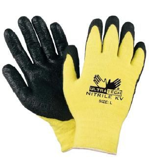 Stretch Kevlar cut resistant work gloves with textured Nitrile coating on palm, UltraTech series from MCR Safety