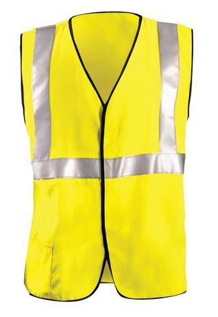 Occunomix LUX-HRC2FR Hi-Viz Flame Resistant Single Stripe Half Sleeve Solid Vest Front