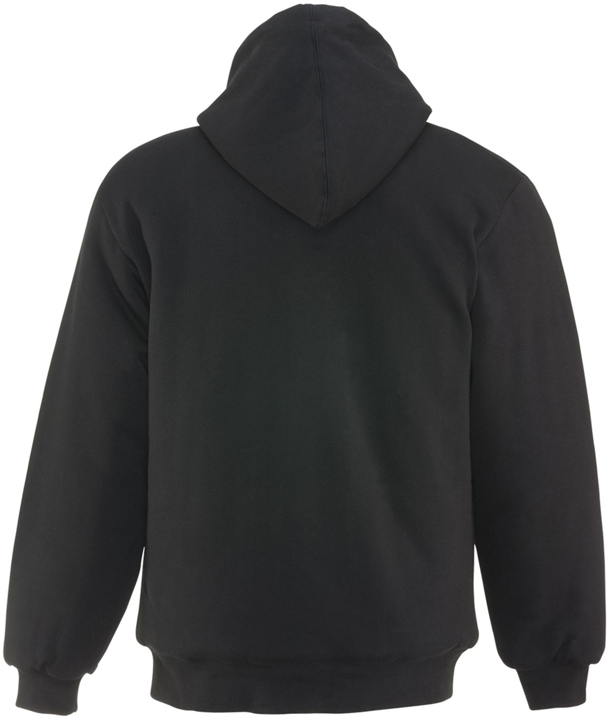 RefrigiWear 0488 Quilted Insulated Zipper Work Sweatshirt With Hood 3 Layer Black Back
