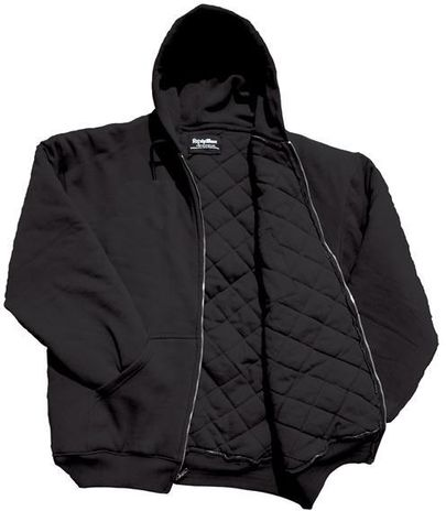 RefrigiWear Cold Weather Apparel - Insulated Quilted Sweatshirt 0488 - Black