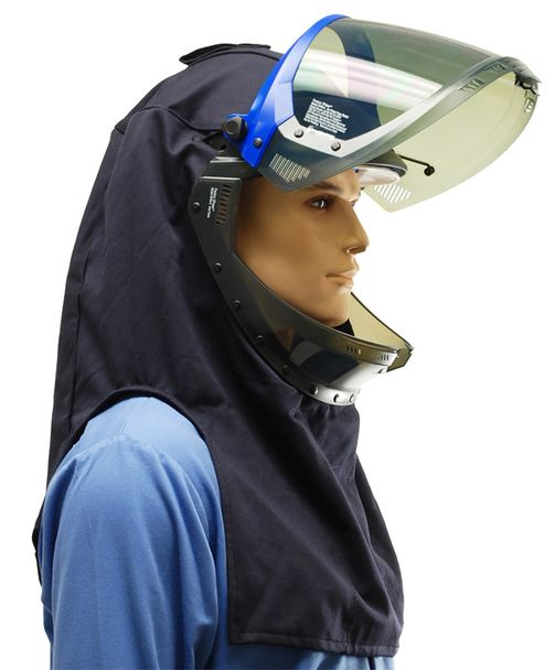 Category 4 arc flash suit hood - flip-up gray window