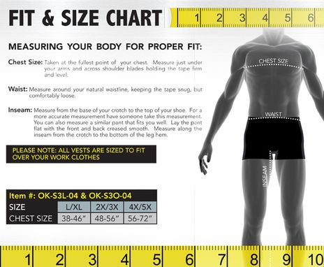 Occunomix size chart S3L/S3O