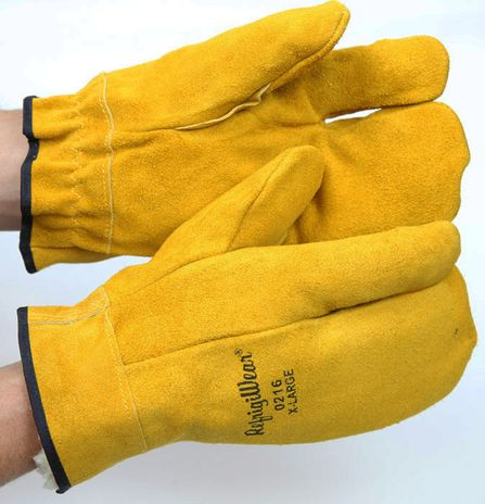 RefrigiWear 0216 Three Finger Leather Work Mitts - Front and Back