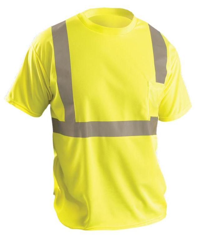 Occunomix LUX-SSETP2B Hi-Viz Short Sleeve Wicking Birdseye T-Shirt Yellow Front