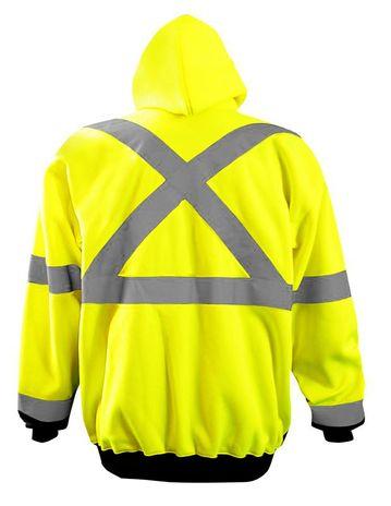Occunomix LUX-HZSWTBX Full Zip Black Bottom X-Back Hoodie Yellow Back