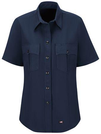 Workrite FR Women's Shirt FSM3, Station No. 73, Uniform Navy Front