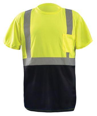 Occunomix Hi Vis T-Shirt LUX-SSETPBK - Wicking Birdseye, Black Bottom Front